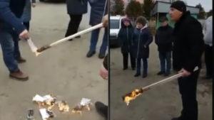 На Житомирщине украинцы жгут костры из платежек за доставку газа
