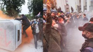 У Рады пресекли попытку самоподжога: митинг разгорается