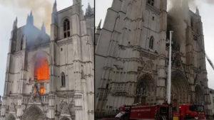 Во Франции вспыхнул знаменитый собор Петра и Павла. Фото и видео