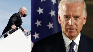 В Белом доме объяснили падение Байдена на трапе самолета сильным ветром