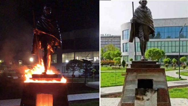 Երևանում անհայտ անձինք պղծել են Մահաթմա Գանդիի արձանը (ֆոտո)