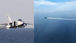 СМИ показали видео полёта российского бомбардировщика над британским кораблём